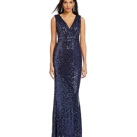 Badgley Mischka Dresses   Belle Navy Blue Sequin Vneck Gown   Poshmark